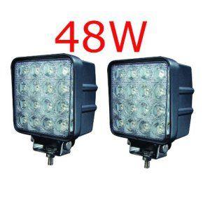 Miracle Lot de 2 lampes LED 48W projecteurs spots idéal pour véhicule tout-terrain, chantier, phares anti-brouillard de camion, Jeep,…