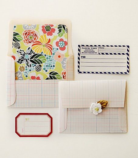 vintage ledger paper and pretty florals, what a combination; from the pink couch: an Envelope Tutorial