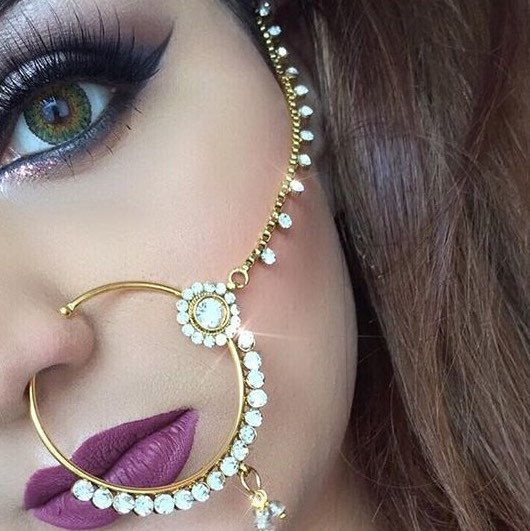 15 designs of Polki Nath Nose Chains now ON SALE! 10% OFF entire shop until 1st May 2016!  @simmysbeauty wearing the Indian Nath Nose Piece.