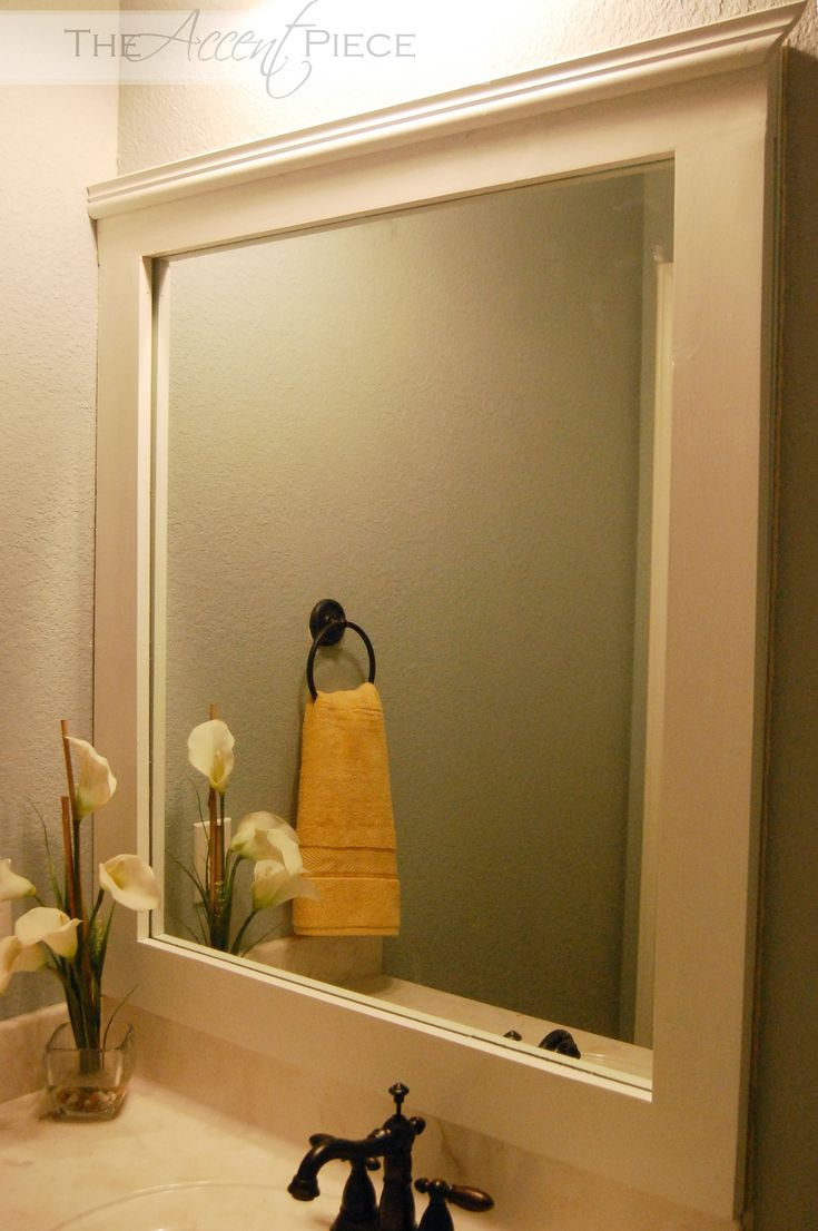 Bathroom mirror ideas diy - Framing A Mirror In A Bathroom Diy Framed Bathroom Mirror