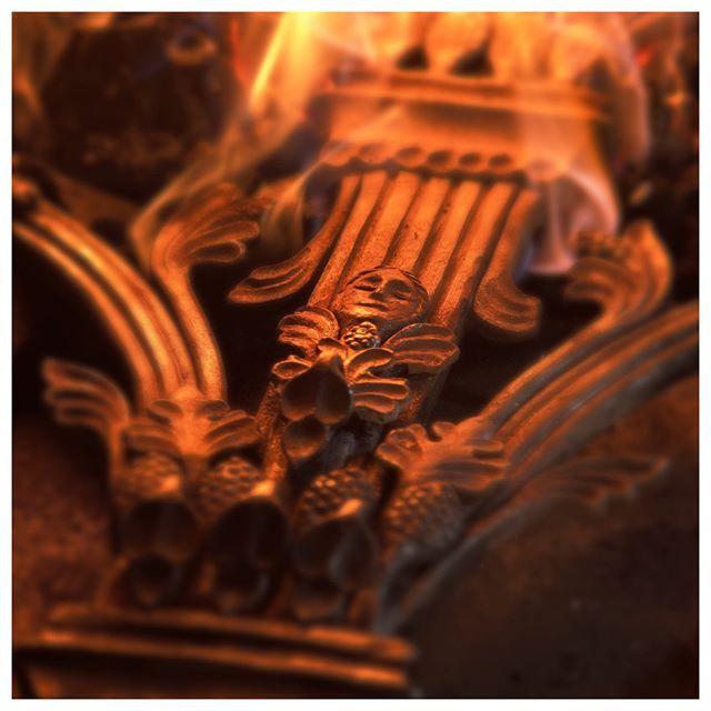 our little angel's enjoying the heat.   art blacksmith notredame workshop iron handcraft paris crowdfunding campaign
