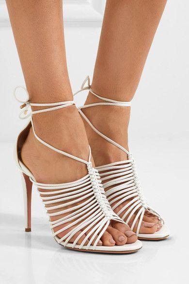 Aquazzura - Nadja Leather Sandals - White - IT35.5