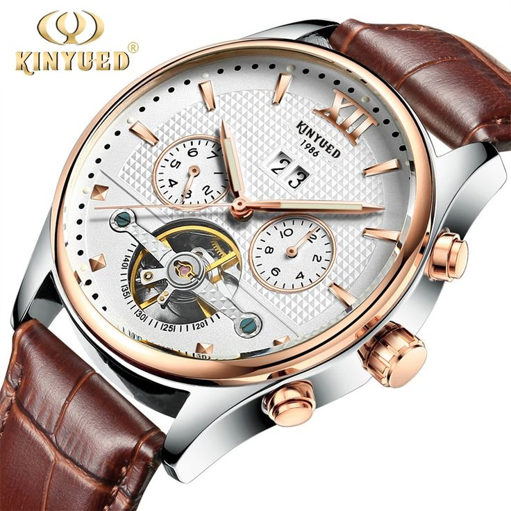 (31.75$)  Buy here  - Brand Kinyued Mechanical Watches For Men Skeleton Automatic Tourbillon Watch Mens Gold Calendar Wristwatch Relogio Mecanico