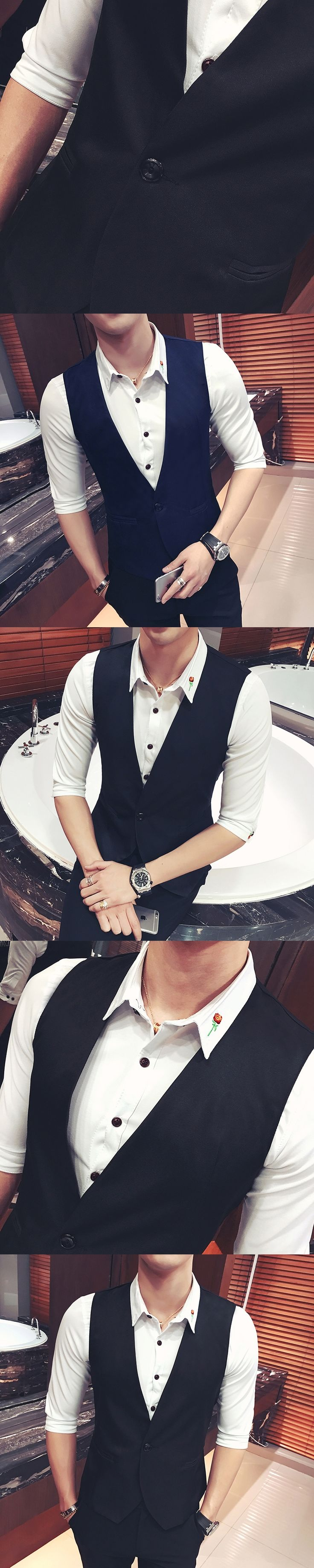 Fashion 2018 New Vest Men Hotel Work Clothing One Button Slim Fit Men Waistcoat V Neck Casual Sleeveless Solid chaleco hombre
