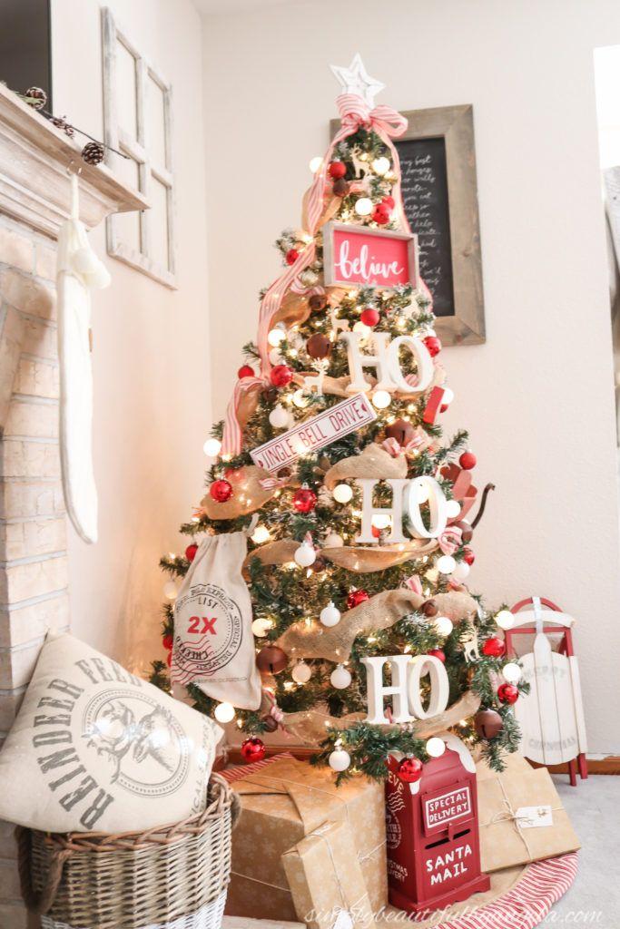 Christmas Tree Blog Hop Rustic Santa Theme Tree Simply Beautiful By Angela Christmas Home 1st Christmas Holiday Garlands