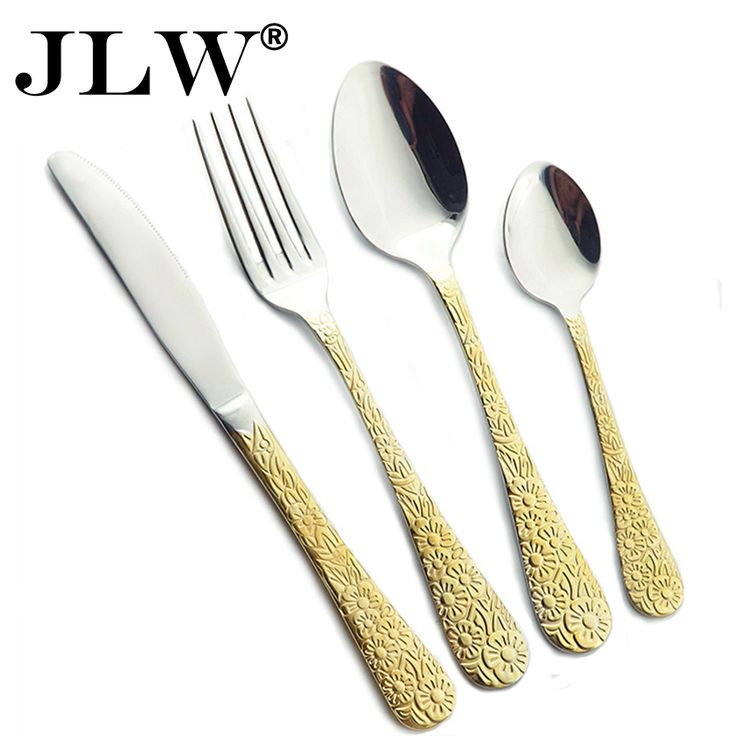 Find More Dinnerware Sets Information about Promotion Dinnerware Stainless Steel Gold Cutlery Set Western Flatware Knife Fork Spoon Tea Spoon Flower Pattern 24 Pieces,High Quality set maker,China set top box full hd Suppliers, Cheap set oil from HOUSURE Store on Aliexpress.com