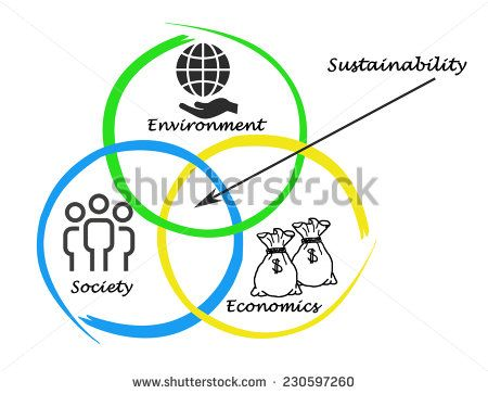 Presentation of diagram of sustainability - stock photo