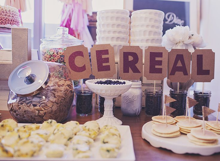Set up a cereal bar with an assortment of choices at a pancakes and pajamas party.: Pajamas Party'S, Birthday Parties, Breakfast Bar, Pancakes And Pajamas, First Birthdays, Cereal Bars, Pajamas Parties, Desserts Tables, Pajamas Birthday
