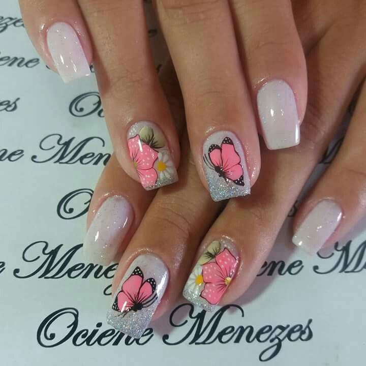 Bianco glitter fiore farfalla