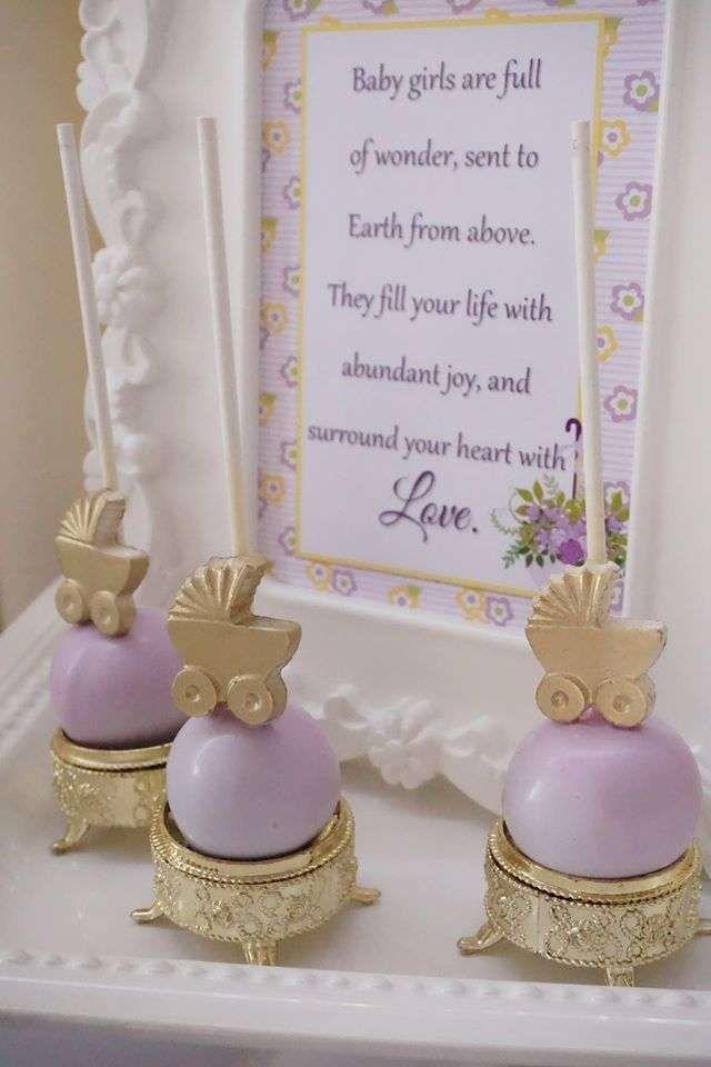 Pretty cake pops at a purple and