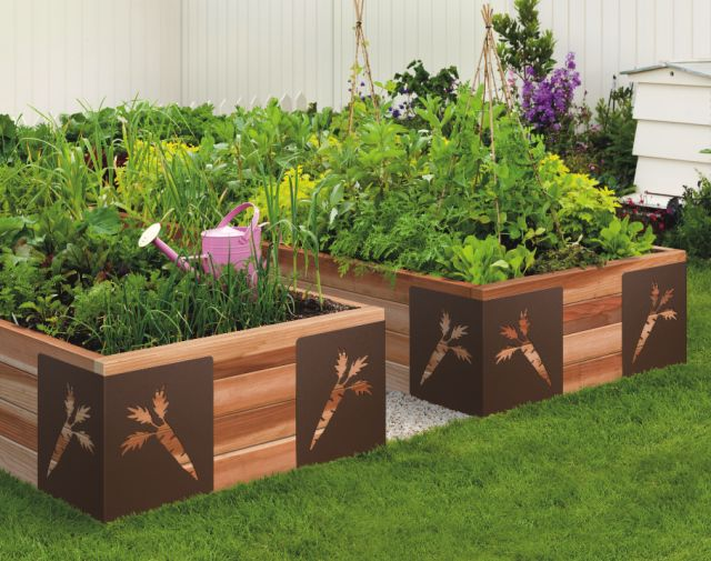 Decorative raised garden bed gardening pinterest for Garden designs with raised beds