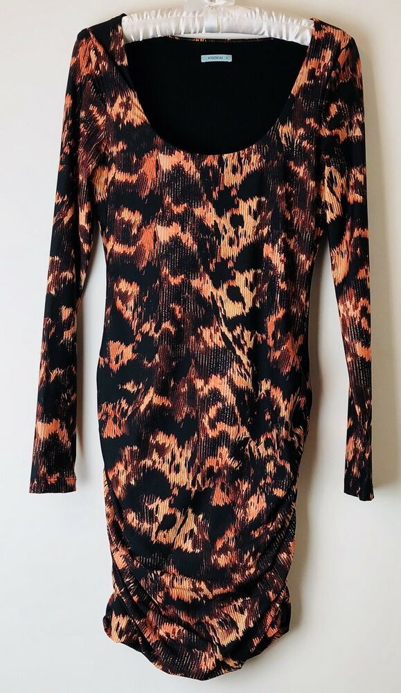 71a2f4e98f KOOKAI Dress Bodycon Size 2 Approx 8 to 10 Animal Print Ruched Stretch   fashion