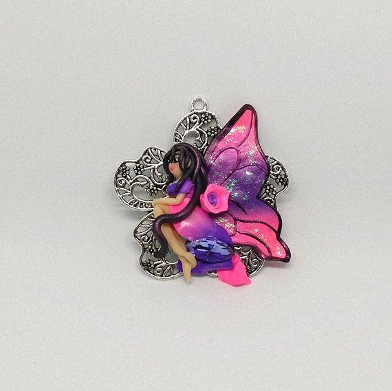 Pink/Purple Flower Fairy necklace charm