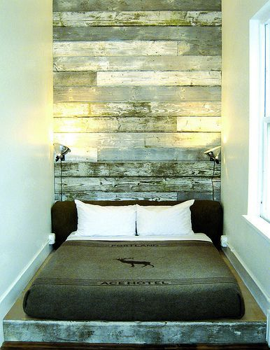 62 DIY Cool Headboard Ideas - used weathered boards behind the bed, going all the way up to the ceiling