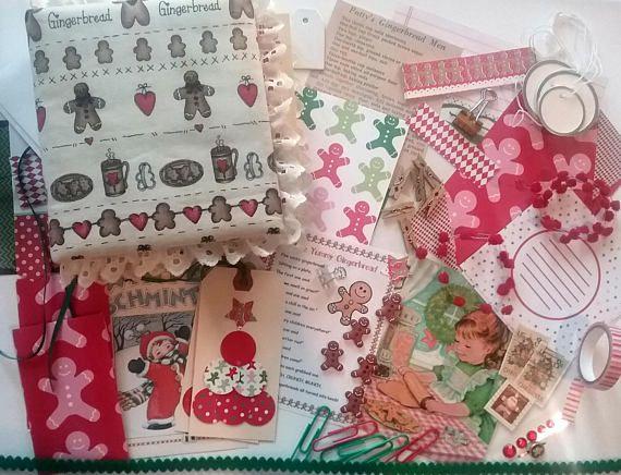 Christmas Journal Starter Kit Gingerbread Junk Journal Art