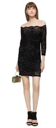 Black off the shoulder lace dress+black ankle heeled sandals+golden clutch+gold earrings. Late Summer Evening Event Outfit