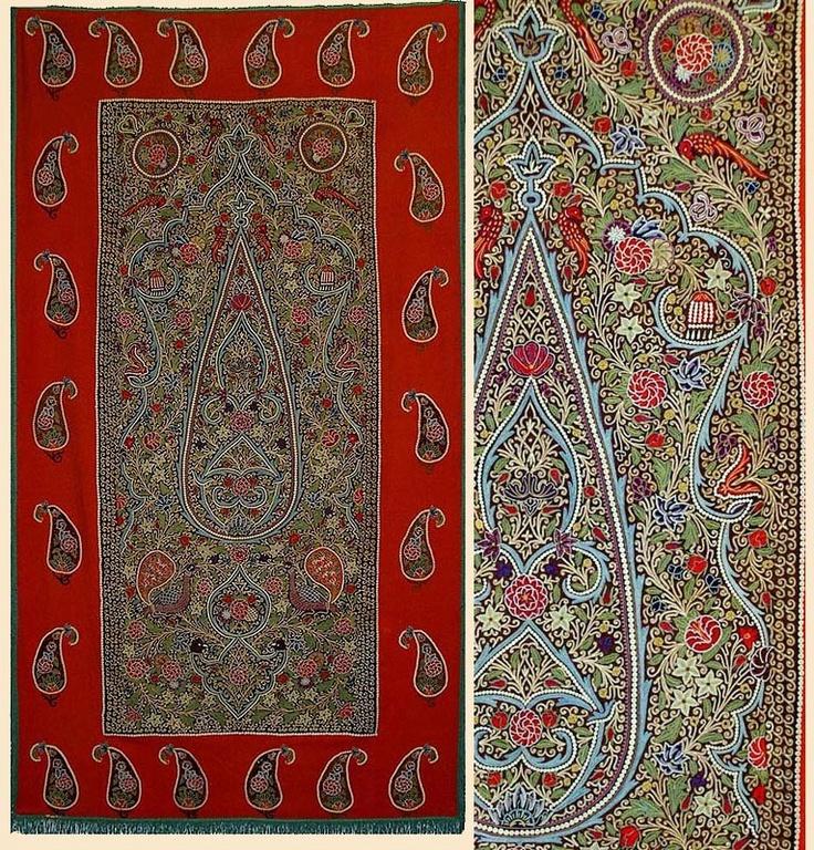 Contemporary Area Rugs Silk Rashti Duzi Embroidery on Felt Prayer Design Wall Hanging Qajar Dynasty