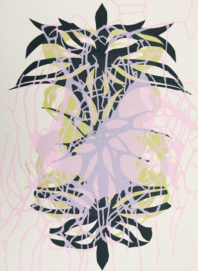 """Janaina Tschäpe, Munich, Germany 1973, Spilling Memory 68, 2014, Silkscreen monoprint, 28"""" x 21"""" image and sheet size"""