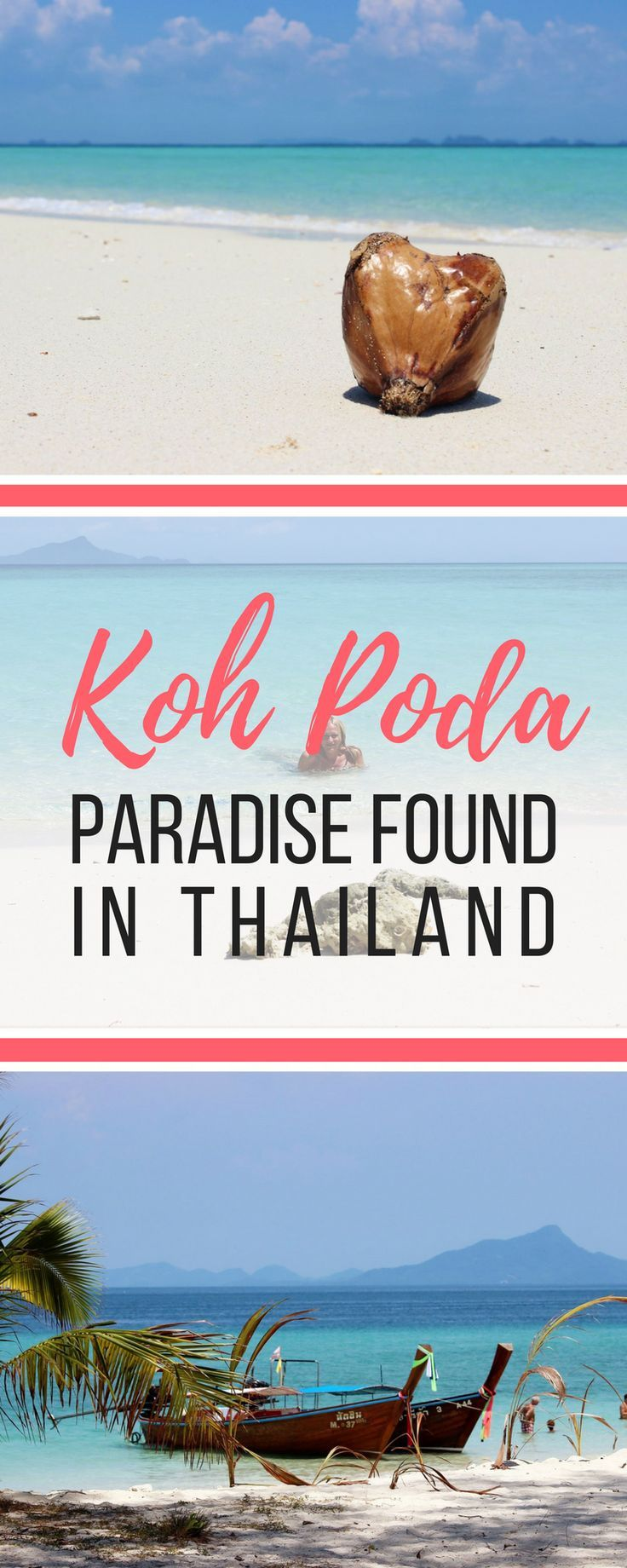 Koh Poda: Paradise Found in Thailand. Koh Poda is the Thai island paradise I had dreamed of: Crystal clear water and wide, white deserted sand beaches. This National Park island is free of resorts and although it is popular with day-trippers, you just need to walk a bit further along its pristine beaches to get away from the crowds. Koh Poda truly is paradise. | Globetrotter Girls