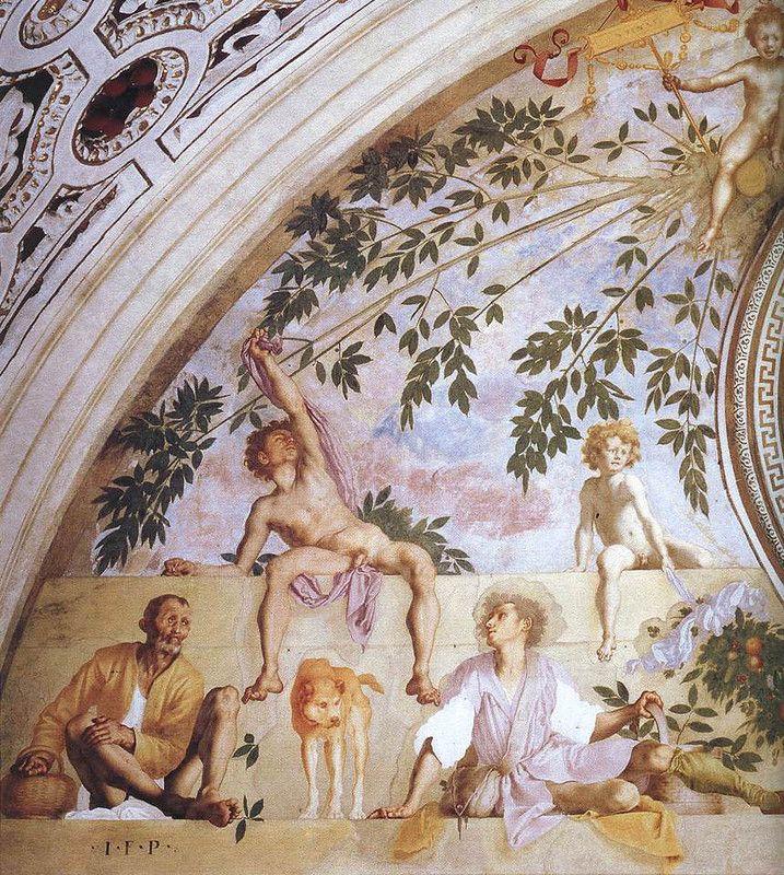 Вертумн и Помона, левая часть (Понтормо).  Вилла Амбра в Поджо-а-Кайано, Италия.