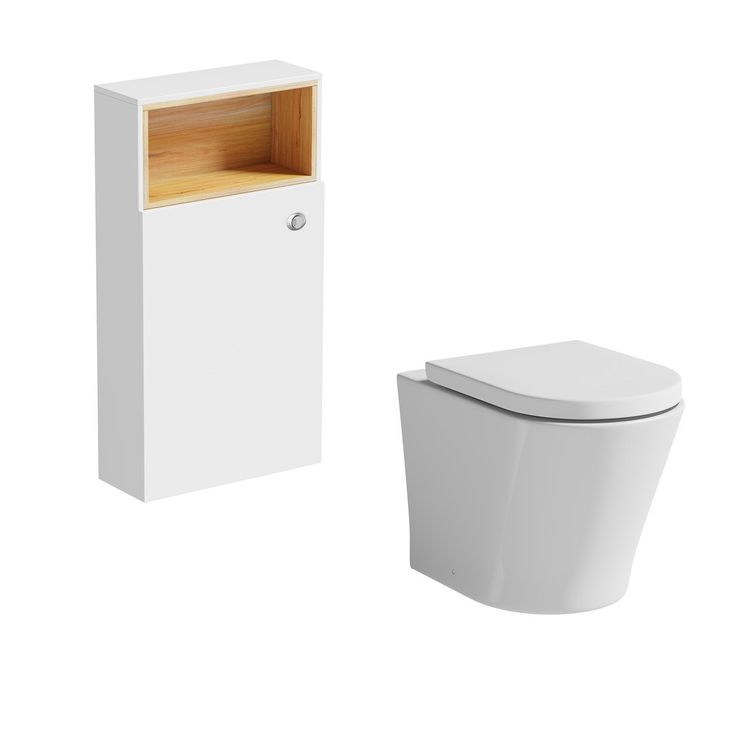 Click here to find out more about Mode Tate white  oak slimline back to wall toilet unit with contemporary toilet and seat - £259
