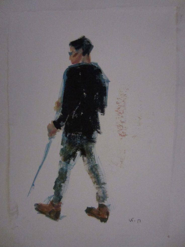 Boy with a stick, oil study by STarnanen 2013