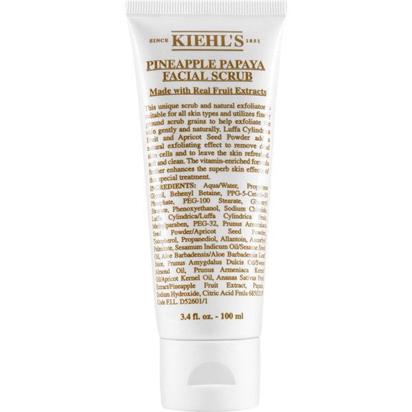 Kiehl's Since 1851 Women's Pineapple Papaya Facial Scrub ($28) ❤ liked on Polyvore featuring beauty products, skincare, face care, face cleansers, beauty, makeup, filler, no color, kiehl's face wash and exfoliating face wash