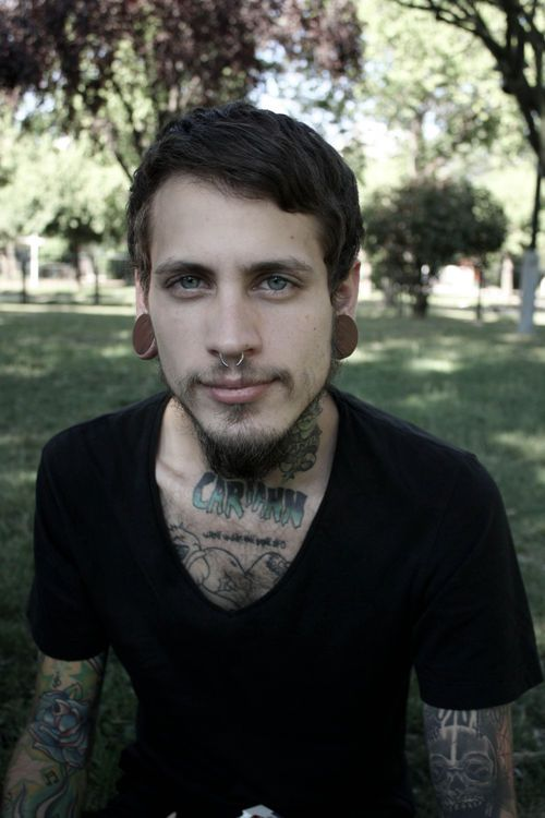 Just perfect gauges and with tattoos