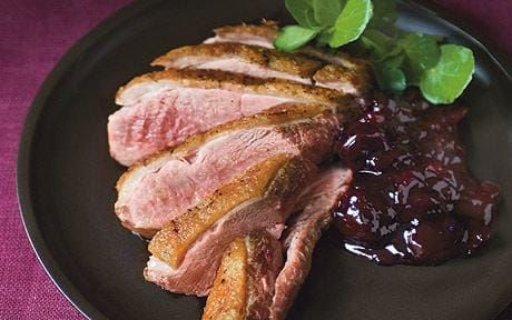 Delia Smith's Christmas recipes: Crisp Gressingham duck breast with morello cherries and red wine serves 6