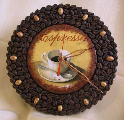 "Часы для дома ручной работы. Ярмарка Мастеров - ручная работа Часы ""Аромат кофе"". Handmade."