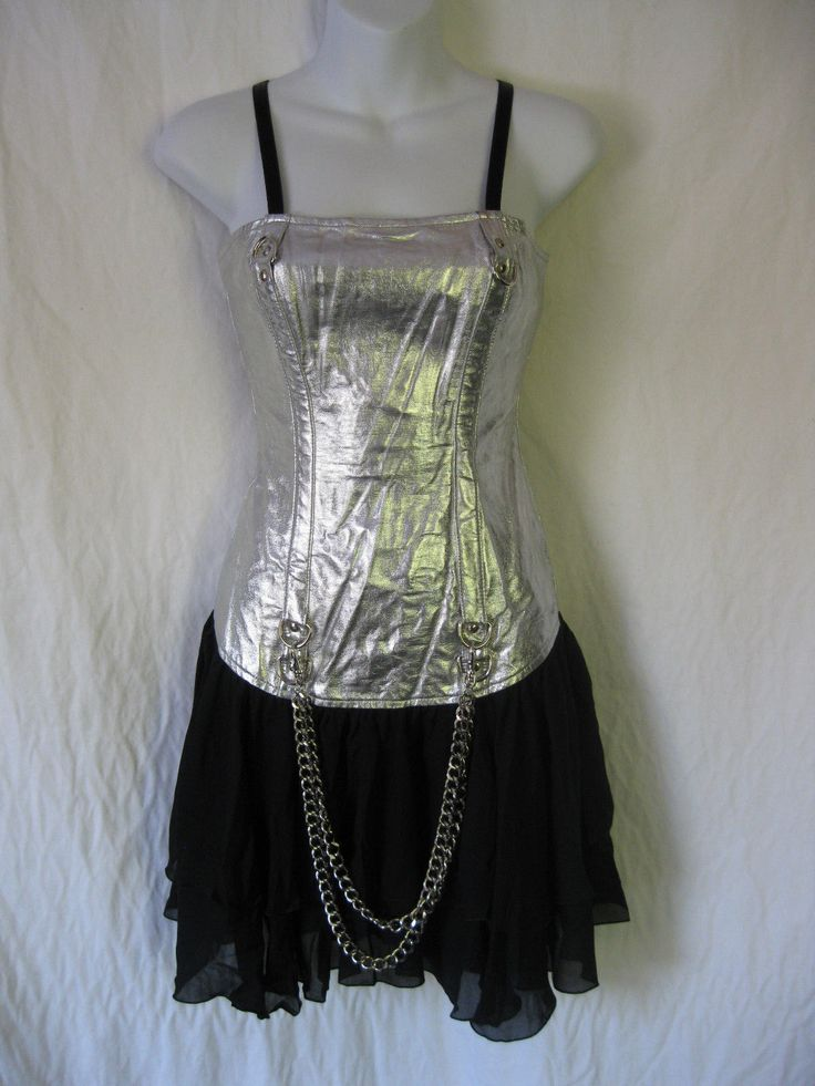 "LIP SERVICE Transformer Leather ""Fashion"" mini dress #27-130 - silver or black size L-XL"