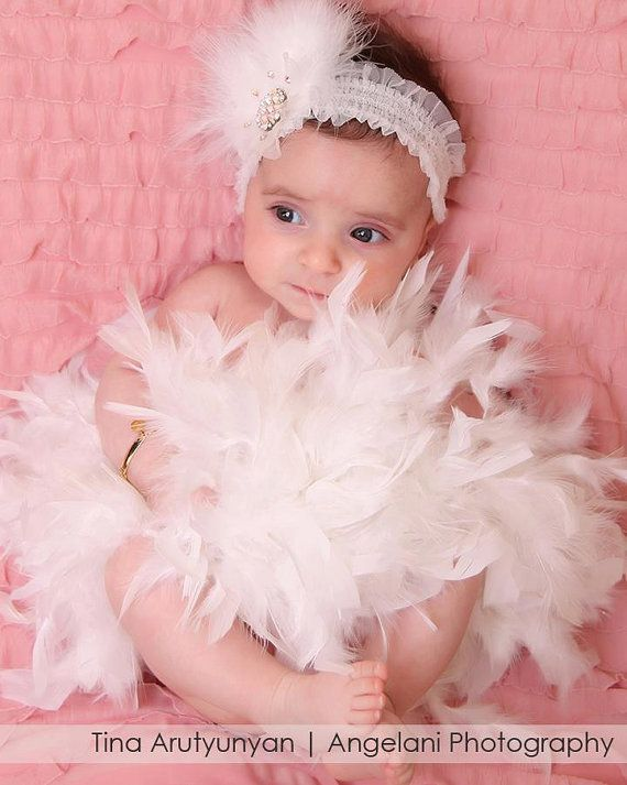Newborn Baby Feather Headband with by ChiCrystalsBoutique on Etsy