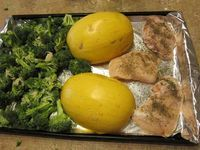 I had my doubts about this recipe because it was so EASY, but my husband and son both LOVED it! Roasted spaghetti squash, broccoli and chicken: