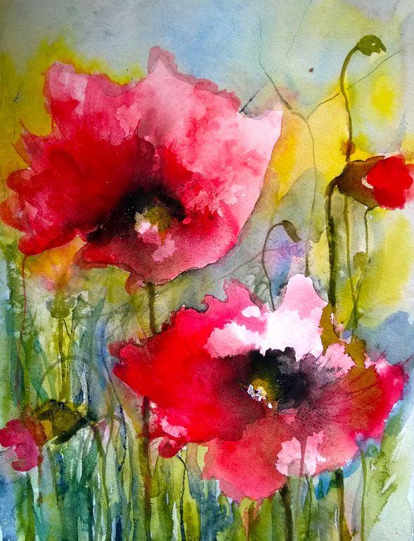 "Saatchi Online Artist: Karin Johannesson; Watercolor 2013 Painting ""Poppies III"""