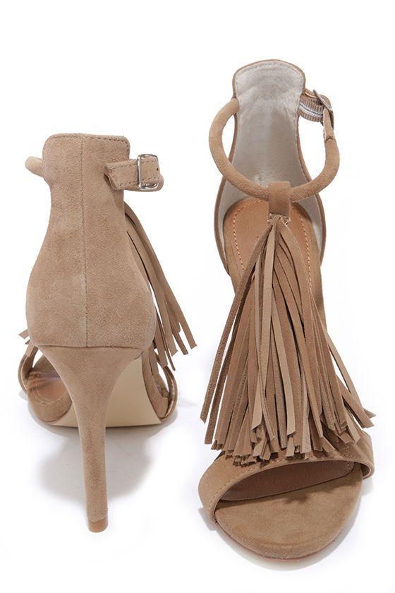 Steve Madden Sashi Taupe Suede Leather Fringe Dress Sandals