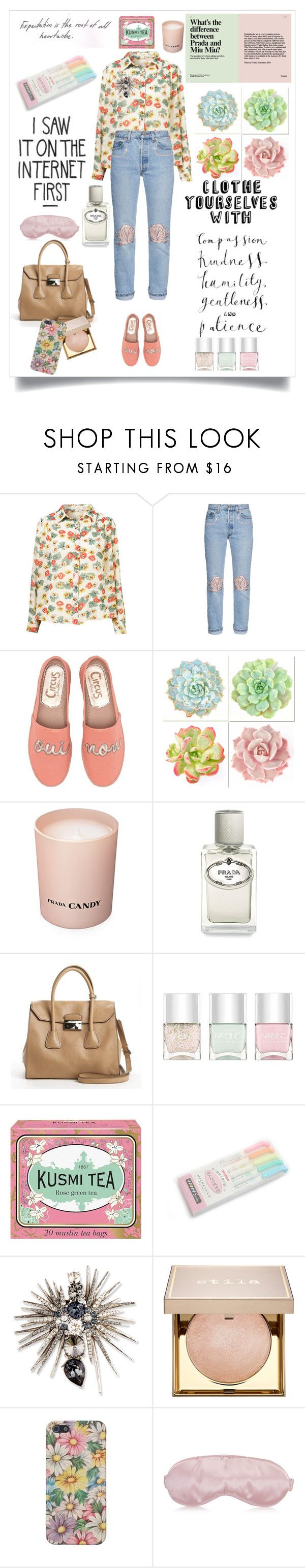 """Nana, is that you?"" by lseed87 ❤ liked on Polyvore featuring Bliss and Mischief, Circus by Sam Edelman, WALL, Prada, Nails Inc., Kusmi Tea, Oscar de la Renta, Stila, floral and Flowers"