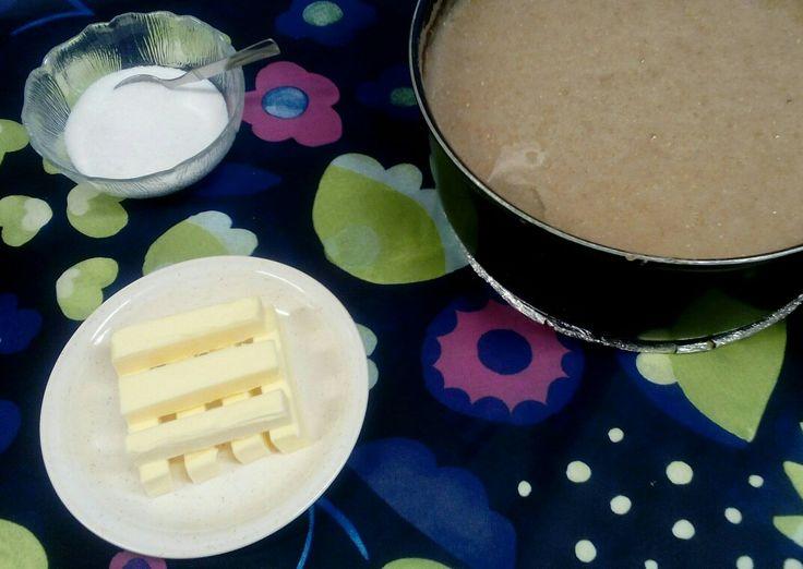 Perinneruokapäivänä,ruispuuroa voin kanssa ja sokeria. Oppilaat tykkäsivät kovasti.