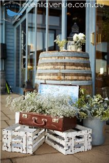 11 best rustic wedding styling centerpieces ideas images on vintage wedding ideas vintage wedding decorations wine barrel used as table vintage bag used as pot for flower junglespirit Gallery