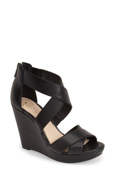 Free shipping and returns on Jessica Simpson 'Jadyn' Strappy Wedge Sandal (Women) at Nordstrom.com. A wrapped wedge and platform and crisscrossing straps make this versatile sandal totally on trend, while its feather-light construction, lightly padded footbed and elastic insert at the ankle provide a comfy, tailored fit.