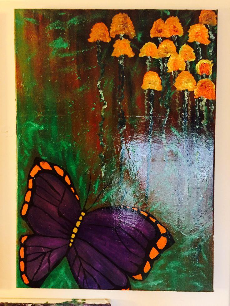 """(275 ₺ )özel tasarım Kelebeğin rüyası ölümden sonra :(""""ŞUO"""") isimli yağlı boya çalışması."""