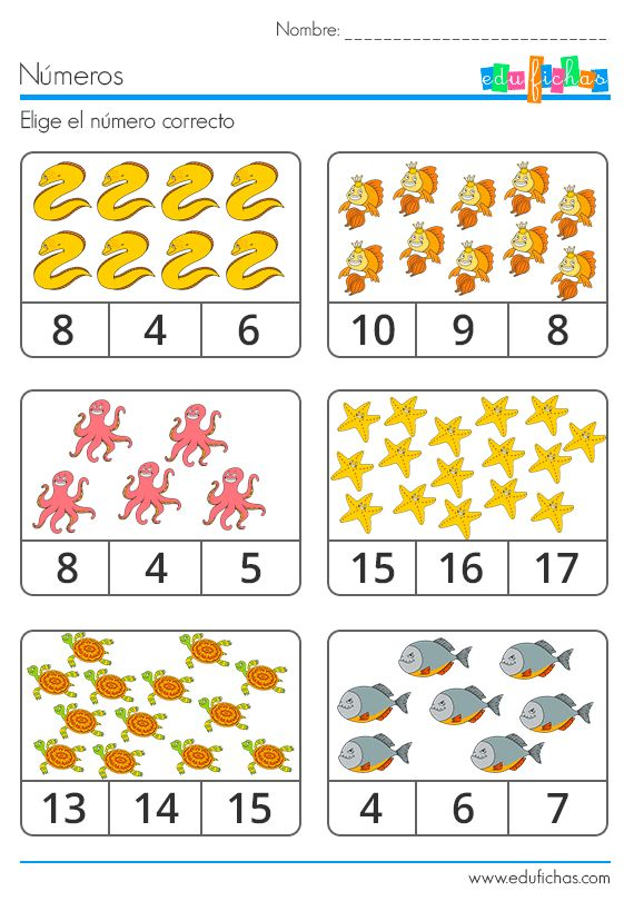 ficha que numero es dibujos verano  Fichas infantiles para aprender los números... ¿que número es?  http://www.edufichas.com/actividades/matematicas/numeros/elegir-el-numero/que-numero-es/  #infantil #niños #actividades #kids #activities #summer