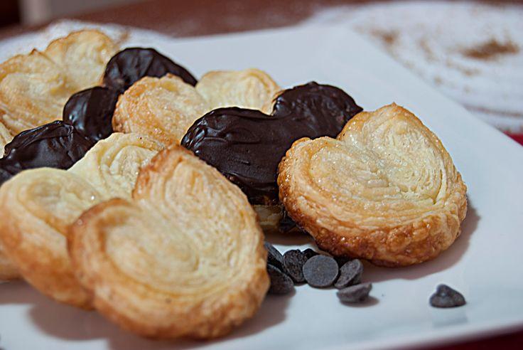 Palmeritas de hojaldre y chocolate  - Palmiers or elephant ear cookies, recipe - YouTube