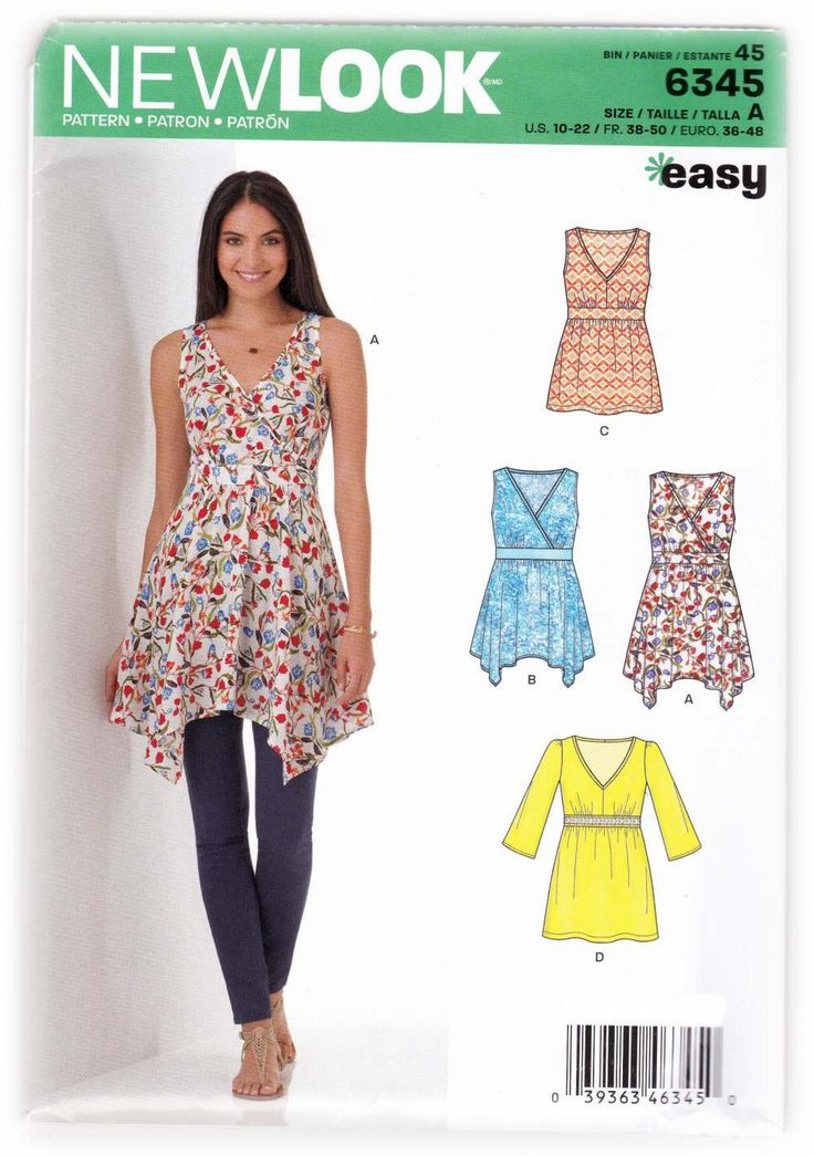 Women's Flared Summer Blouse Tunic Sewing Pattern - New Look 6345 Miss Sizes 10-22 Easy Sewing patterns and instructions are uncut, factory folded. A,B,C are sleeveless. Tunics A and B are asymmetrica