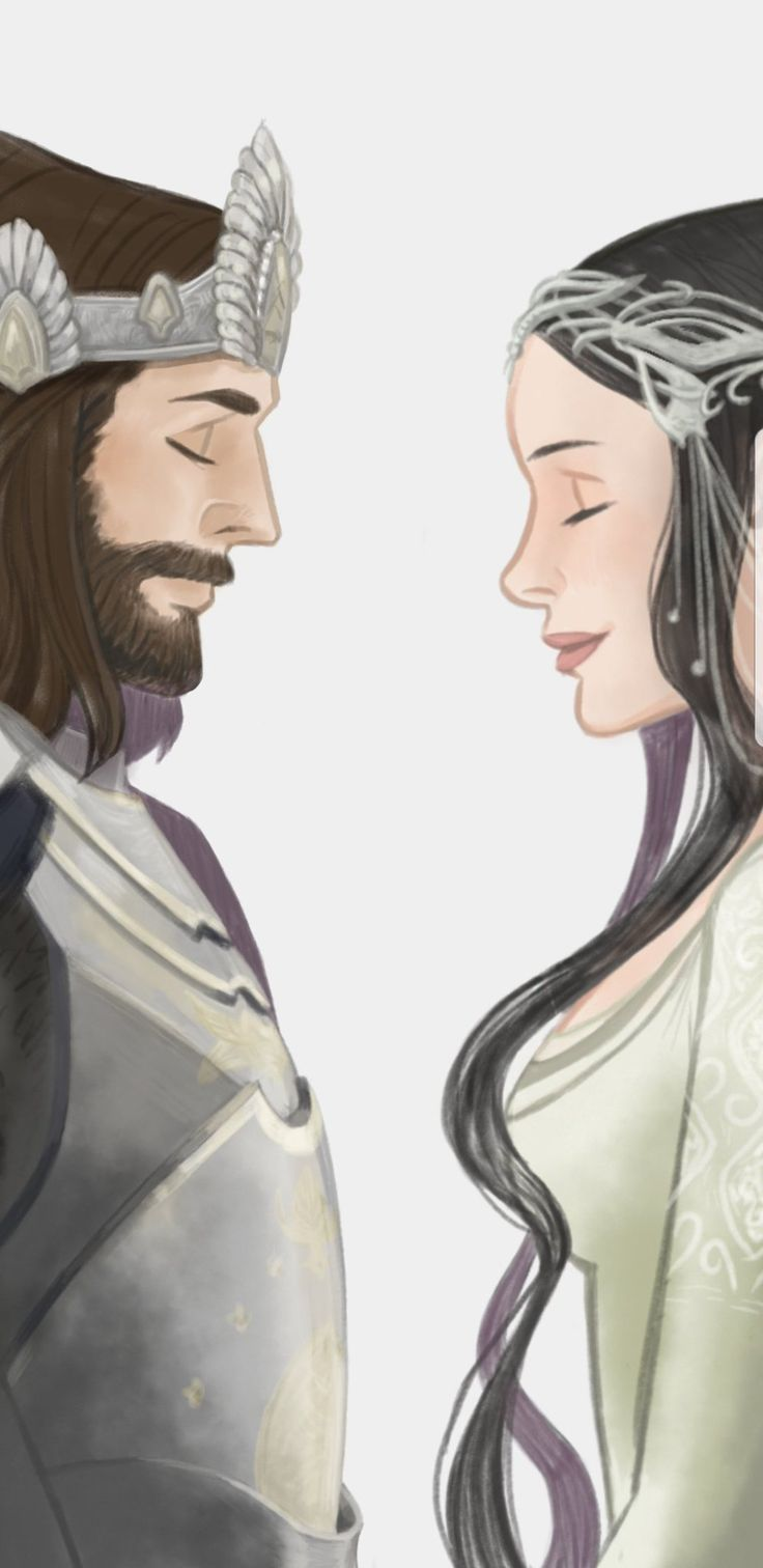 Aragorn and Arwen. I like this sweet, simple style.