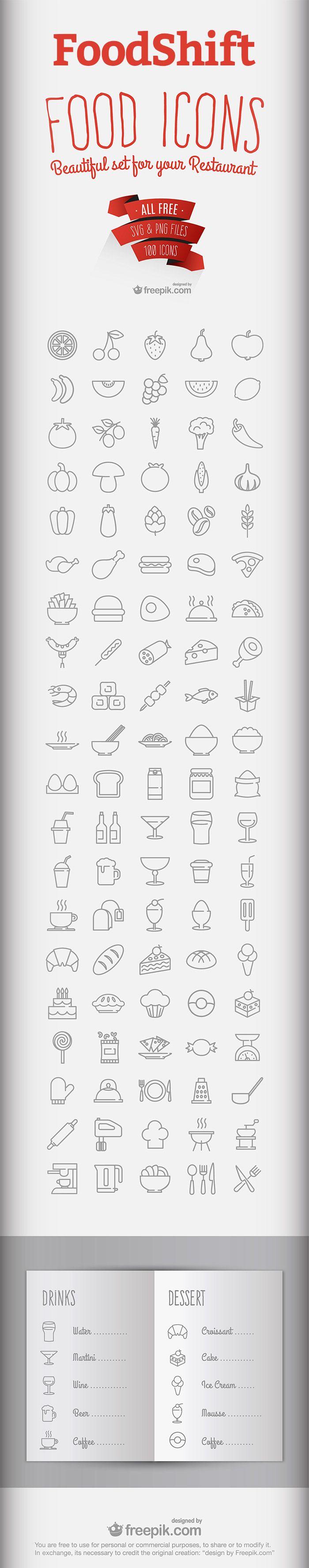 FoodShift - Free Food & Drink Icon Set (2.3 MB) | instantshift.com