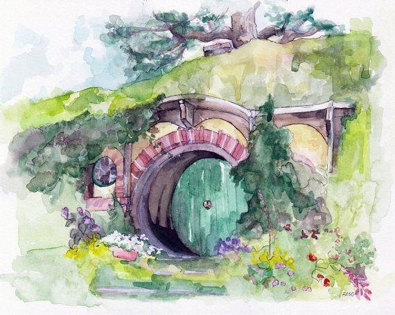 La peinture de Hobbit impression à partir par TheColorfulCatStudio
