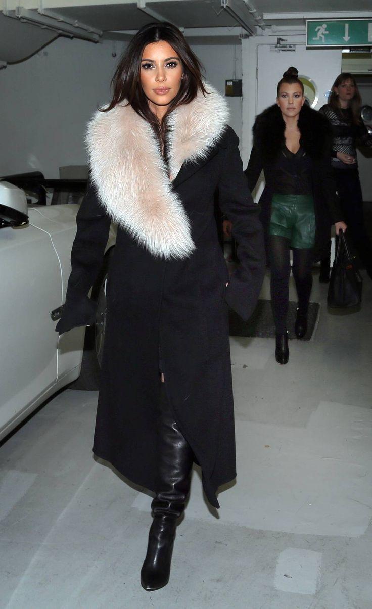 Kim Kardashian Rocks Baby Bump in Tight Black Dress, Fur ...
