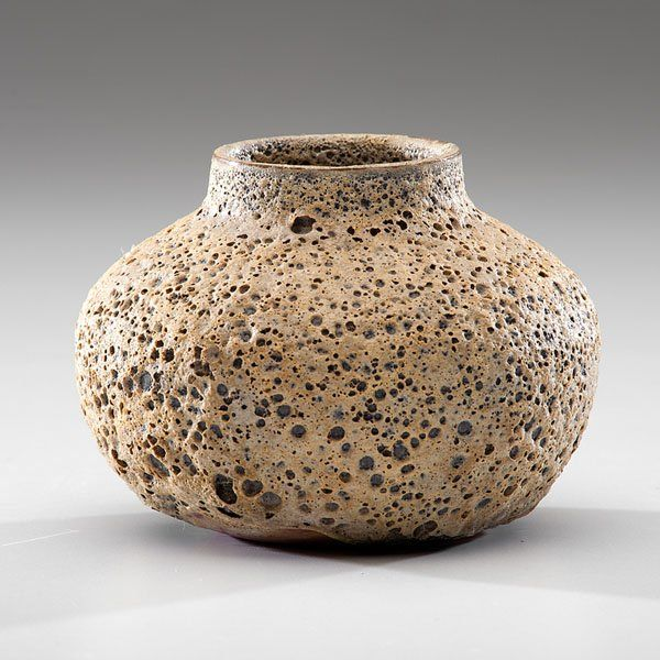 Beatrice Wood (1893-1998; USA) Small Crater Vase ca 1968 Earthenware; ht. 4, dia. 4.5 in. Artist BEATO signature on base.