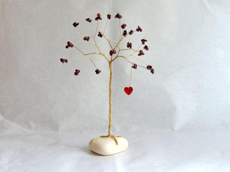 40th Anniversary Gift, 40th wedding anniversary, Ruby tree sculpture, Garnet gemstone tree with Swarovski crystal Heart, Ruby anniversary by AbssOluto on Etsy