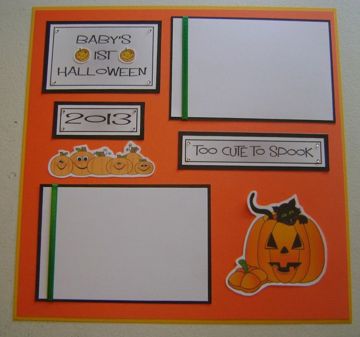 1 Pre made 12 x 12 BABY'S 1ST HALLOWEEN scrapbook page (HOLIDAY)